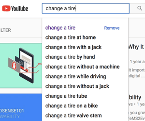 Example of a YouTube auto-fill search results.