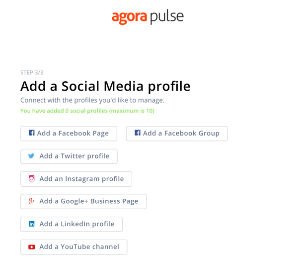 How to use Agorapulse for social media listening, step 1 add social profile.