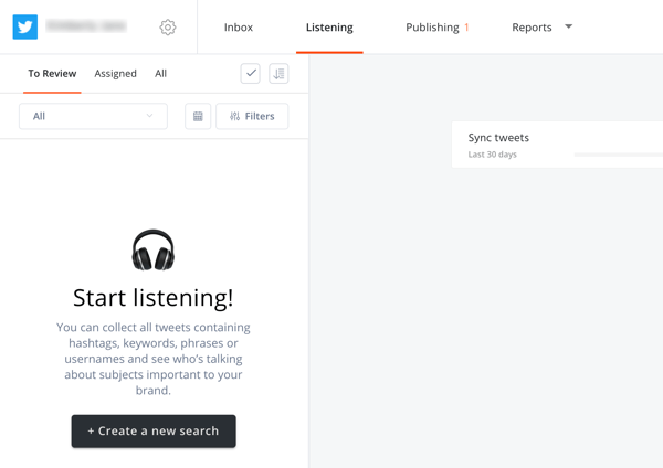 How to use Agorapulse for social media listening, Step 2 create new search on the listening tab.