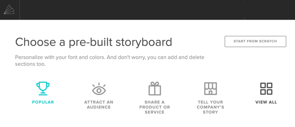 Option to select a storyboard template in Animoto.