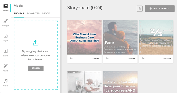Option to add content to your Animoto storyboard.