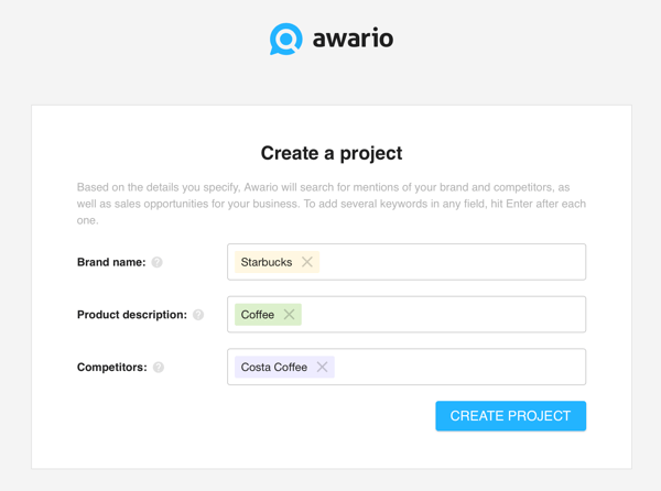 How to use Awario for social media listening, Step 1 create a project.