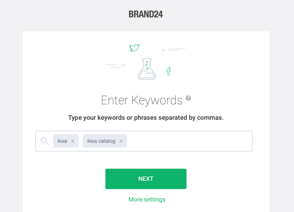 How to use Brand24 for social media listening, Step 1 keyword search sample.