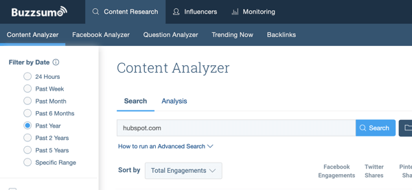 BuzzSumo content analyzer dashboard.