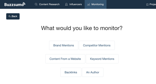 Options of what you can monitor via BuzzSumo.