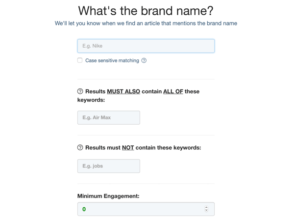 Example form for Brand Name mentions.