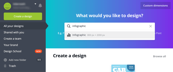 Option to create a design or edit a template in Canva.