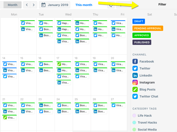 How to organize social media marketing tasks, ContentCal calendar overview with filters