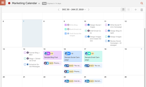 Example of a CoSchedule calendar.