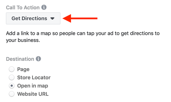 Option to select Get Directions for the Call to Action of your Facebook campaign.