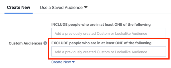 Facebook ad targeting excluding custom audiences.
