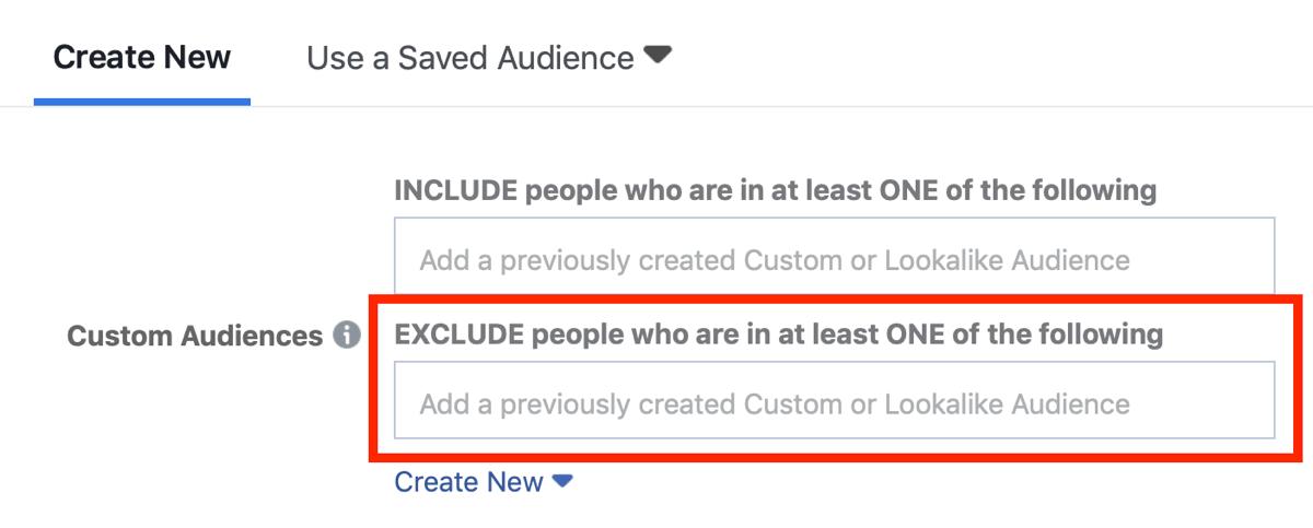 Facebook ad targeting excluding custom audiences.