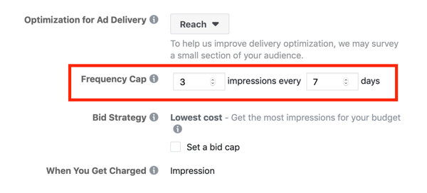 Facebook ad campaign frequency cap option.
