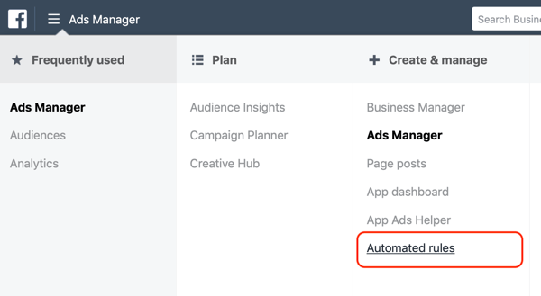 Use Facebook automated rules, find rules in Facebook Ads Manager step 1, create and manage column