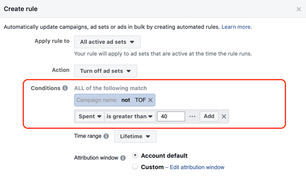 Use Facebook automated rules, stop ad set when spend is two times cost and less than 1 purchase, step 2, conditions settings