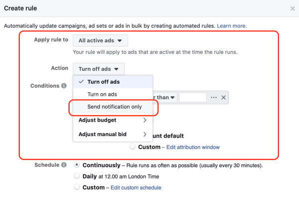 Use Facebook automated rules, notification when ad frequency above 2.1, step 1, ad set and action settings