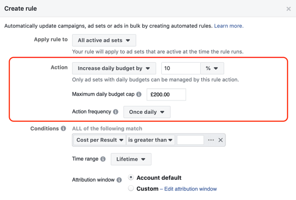Use Facebook automated rules, increase budget when ROAS greater than 2, step 2, action settings