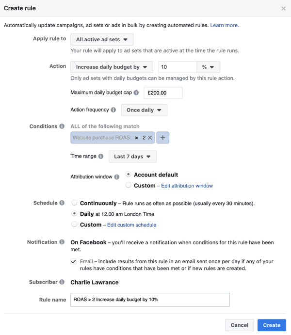 Use Facebook automated rules, increase budget when ROAS greater than 2, step 4, conditions settings