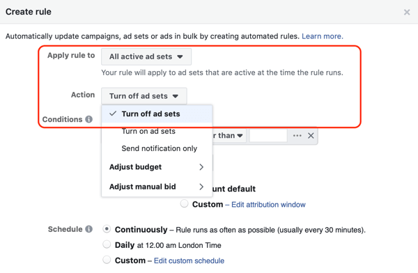 Use Facebook automated rules, stop ad set when ROAS falls below minimum, step 1, action settings