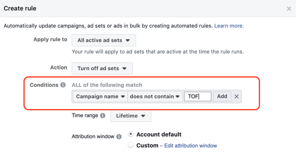 Use Facebook automated rules, stop ad set when ROAS falls below minimum, step 2, set conditions