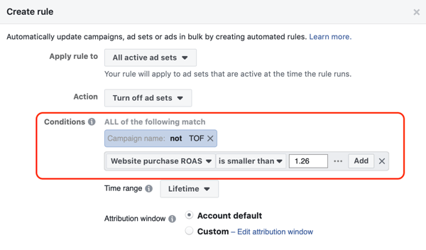 Use Facebook automated rules, stop ad set when ROAS falls below minimum, step 3, condition settings