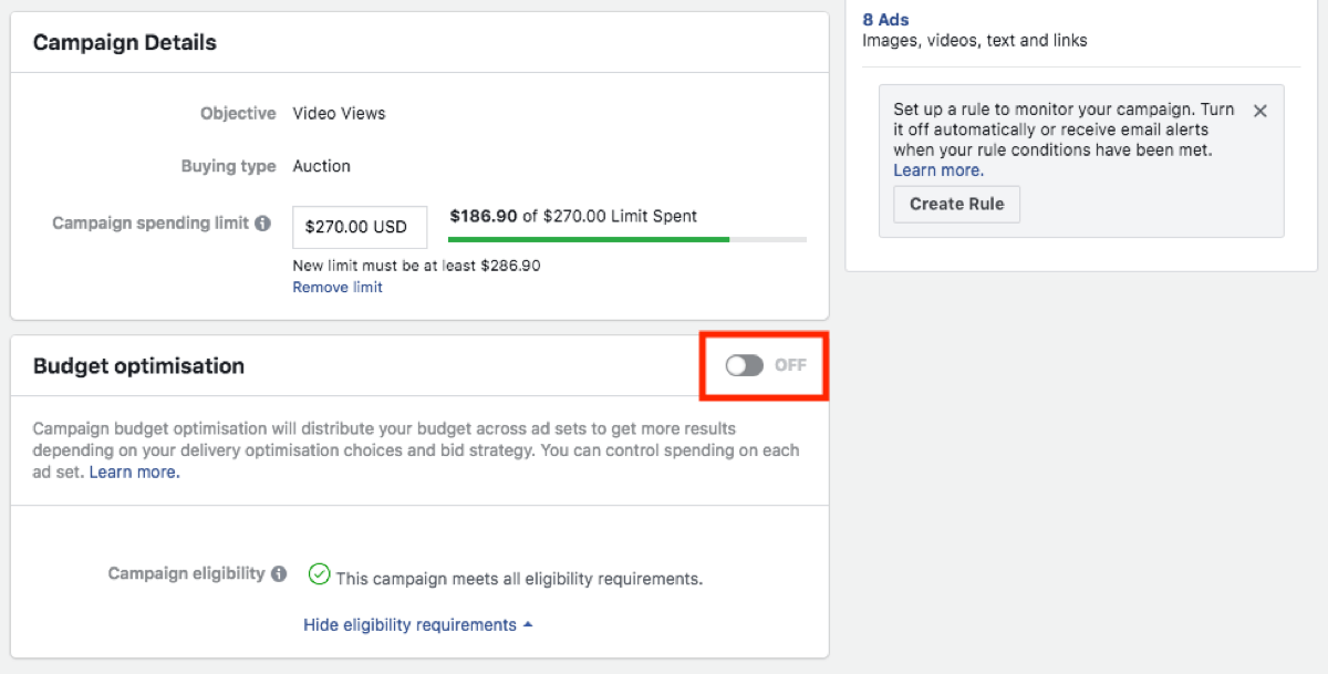 Facebook campaign budget optimization option.