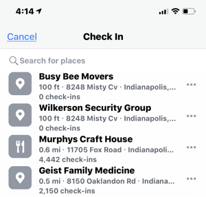 Example of check in locations for nearby businesses on Facebook.