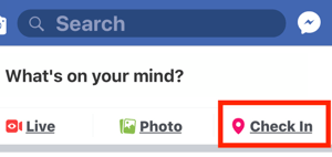 Option to select Check Ins for your Facebook Business page.
