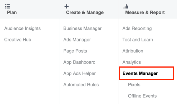 Option to select Events Manager in Facebook Ads Manager.
