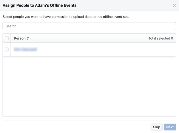 Assign people to your offline event set.