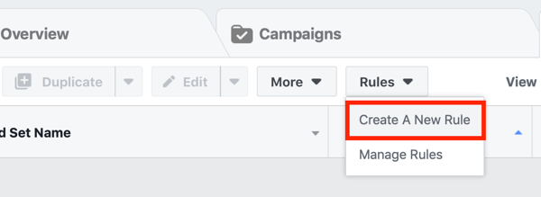 Facebook ad campaign create new automation rule.