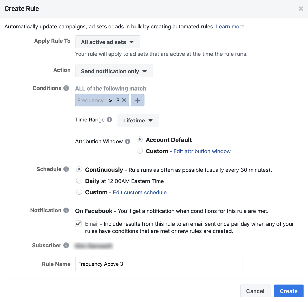 Facebook ad campaign create frequency limit rule settings.