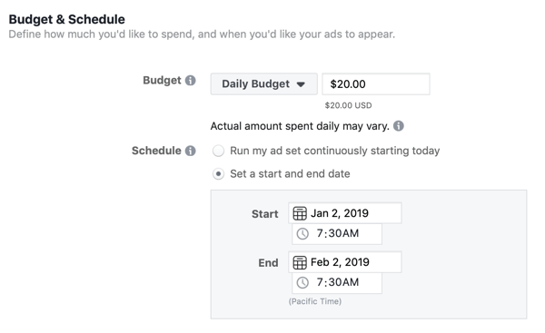 Budget and schedule options for a Facebook lead ad campaign.