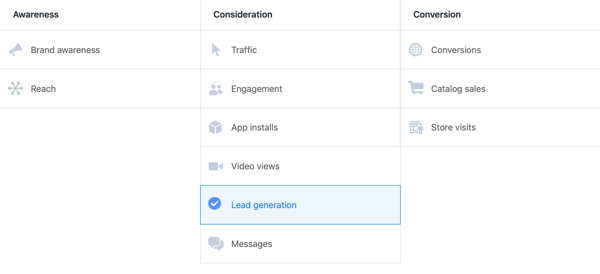 Option to select Lead Generation ad from campaign objectives in Facebook Ads Manager.