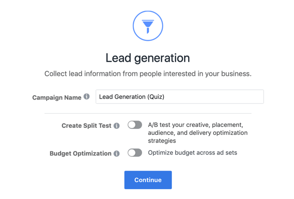 Sample settings for your Facebook lead form ad.