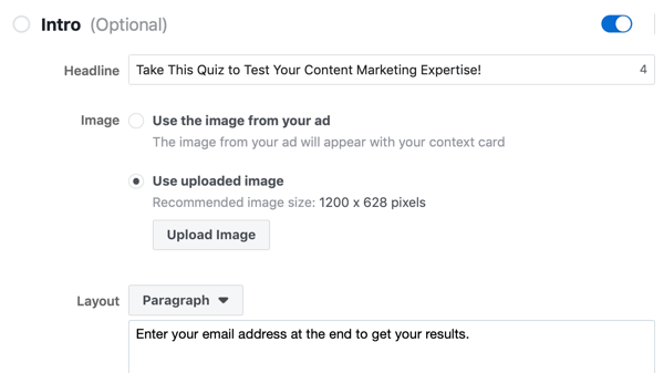 Headline, image, and layout options for a Facebook lead ad campaign.