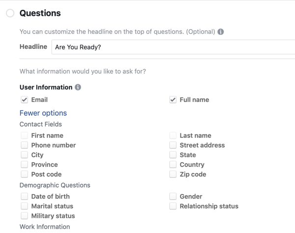 Question options for a Facebook lead ad campaign.