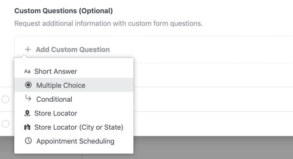 Question type setting options for a Facebook lead ad campaign.