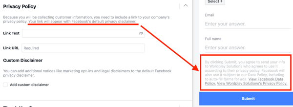 Example of a privacy policy included in the options of a Facebook lead ad campaign.