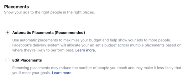 Placement options for a Facebook lead ad campaign.