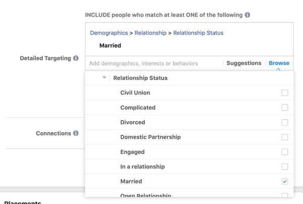 Demographic targeting options for a Facebook lead ad campaign.