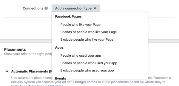 Add a connection type options for a Facebook lead ad campaign.