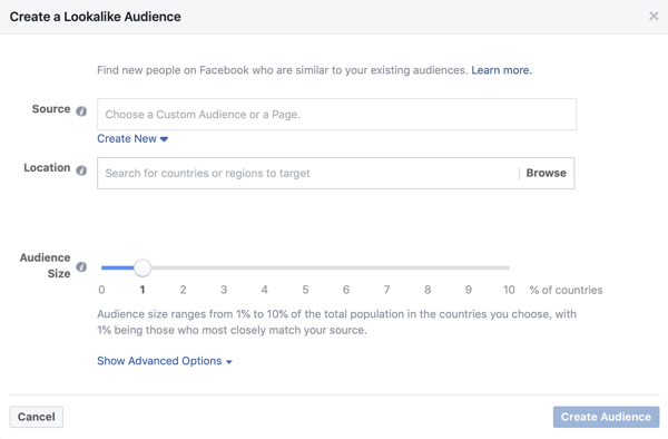 Setting if using a lookalike audience for a Facebook lead ad campaign.