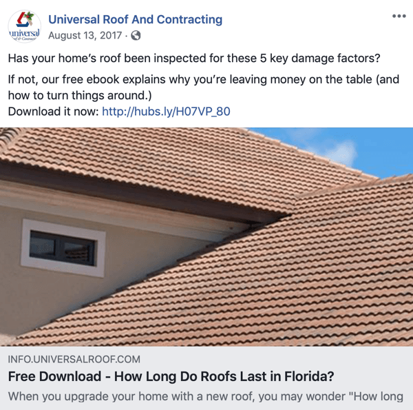 Example of an indirect sales pitch for a roofing estimate on Facebook.