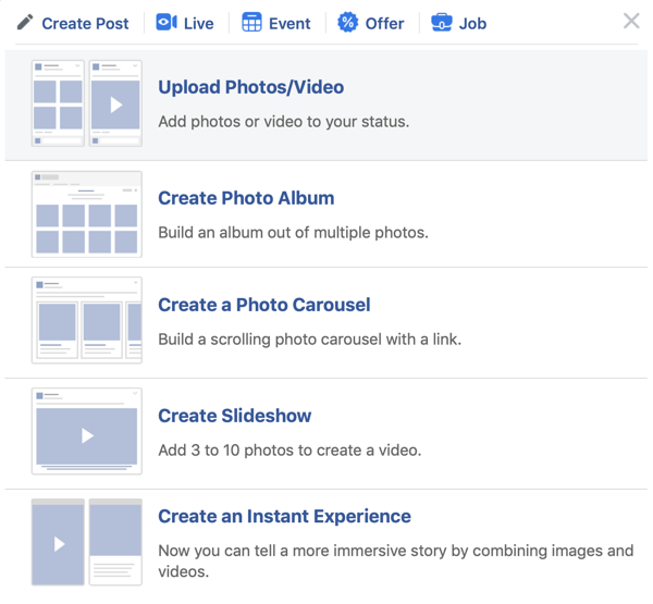 How to set-up Facebook Premiere, step 2, upload photo/video option