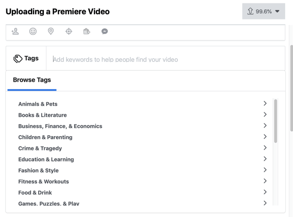 How to set-up Facebook Premiere, step 4, video tags