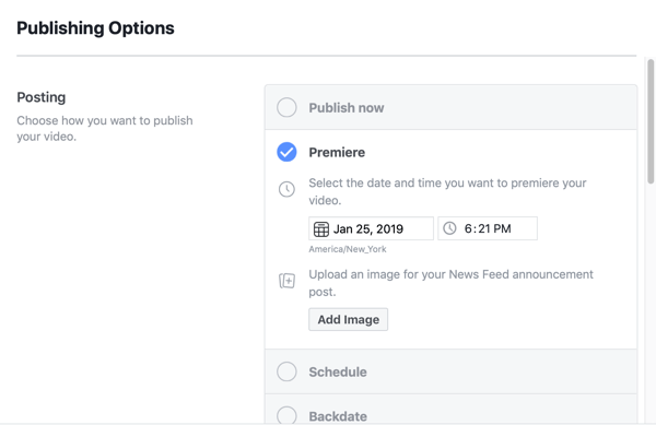 How to set-up Facebook Premiere, step 5, publication scheduling settings