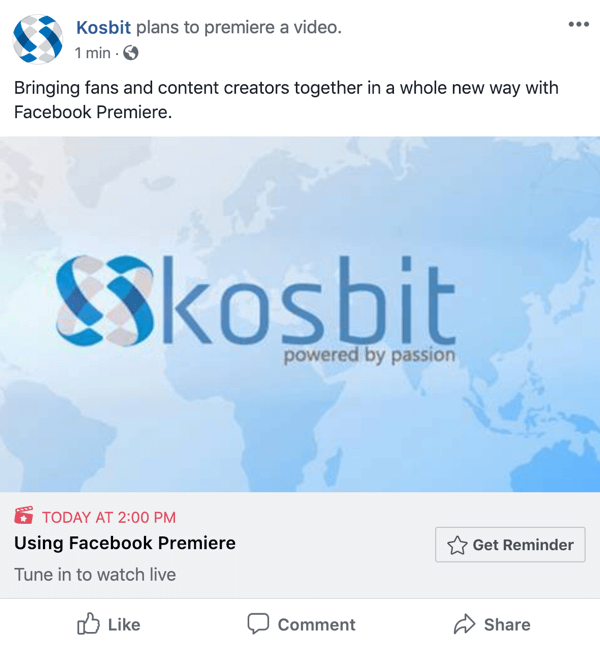 How to set-up Facebook Premiere, step 6, premiere announcement post example