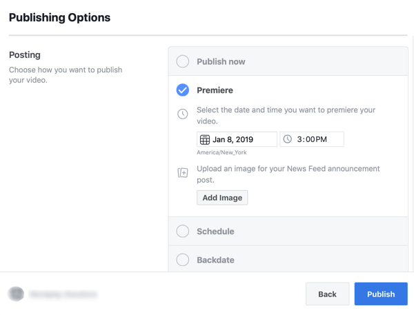 Option to schedule a video Premier on Facebook.