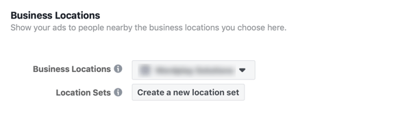 Option to create a new location set for your Facebook business ad.